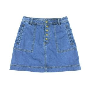Free People Blue Jean Skirt Size 27 Snap Front